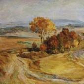 Ladislav Zákoucký: Nad Rychnovem, olejomalba na plátně (výřez), autor: Městská galerie MY